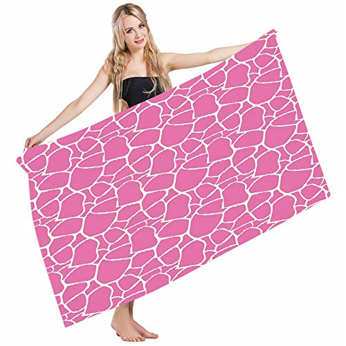 Mugod Beach Towel Bath Towels Hot Pink Abstract Giraffe Skin Vivid Color Exotic Animal Camouflage Safari Jungle Yoga/Golf/Swim/Hair/Hand Towel for Men Women Girl Kids Baby 64x32 -