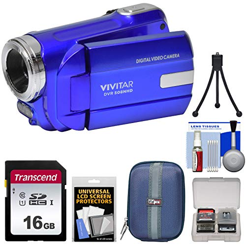 Vivitar DVR-508 HD Digital Video Camera Camcorder (Blue) with 16GB Card + Case + Tripod + Kit