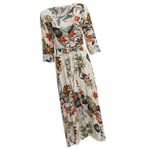 実質的バッテリー花束Dovewill 女性 ボヘミア Vネック 半袖 花柄 マキシドレス ロングドレス スリム 全4サイズ