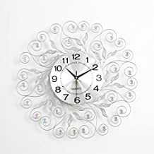Wall Clock Round with Crystal Diamond Silent Non Ticking Shell Metal Modern Decoration Watch Simple Living Room Office Quartz Clock(Size:20Inch)
