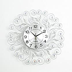 HSRG Wall Clock Round With Crystal Diamond Silent Non Ticking Shell Metal Modern Decoration Watch Simple Living Room Office Quartz Clock(Size:20Inch)