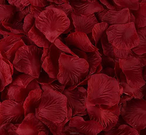 KALOR 1000pcs Silk Artificial Fabric Flower Rose Petals for Wedding Confetti Flower Girl Bridal Shower Hotel Home Party Valentine Day Flower Décor Dark Red