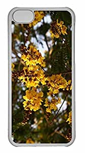 iPhone 5C Case, Personalized Custom Yellow Gulmohar Flowers for iPhone 5C PC Clear Case