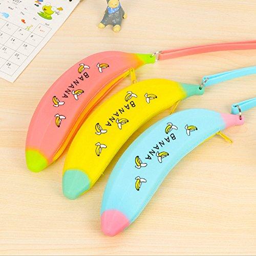 Funnylive® Jelly Glue Bananas Pen Bag Cute Pencil/pen Bag Coin Purse Pouch Environmental Protection Pencil Case School Supplies For Your Kids (2pcs,Random Color)
