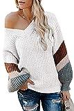 FAFOFA Women's V Neck Plus Size Sweater Striped Long Sleeve Keep Warm Kintted Outwear White L