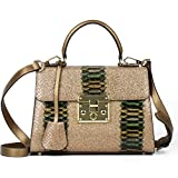 Ali Victory Designer Women Dazzling Handbags Leather Tote Bag (Gold)