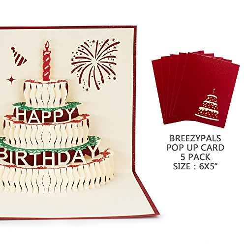 Pack Greeting Cards 5 (Pop Up Birthday Card[5 Pack] Breezypals 3D Cake Thank You Cards, Handmade Greeting Cards with Blank Envelopes)