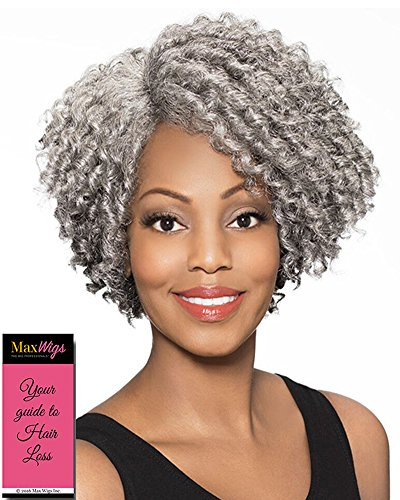 (Joyce Wig Color 3T51 - Foxy Silver Wigs Short Curly Lush Layers Synthetic J Part Lace Front African American Women's Stitched Wefted Lightweight Average Cap Bundle with MaxWigs Hairloss)