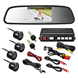 Rearview Mirror Monitor Video Parking Sensor Kit,car Reverse Backup Radar,Black Sensor with 4.3 Inch Rearview Mirror Monitor Backup Reverse HD Night Vision Camera Parking Sensor kit