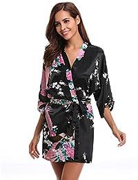 Aibrou Women's Kimono Robes Satin Peacock and Blossoms Silk Nightwear Short Style
