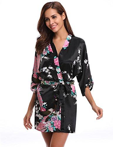 Robe Fleurs Aibrou Nuit Fête Femme Paon De Peignoir Satin Noir Vêtements La Pour Cadeau Mariage Kimono Chemise 0n10WwqExf