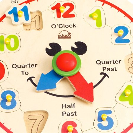 Award Winning Hape Happy Hour Clock Kid's Wooden Time Learning Puzzle