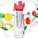 32oz Fruit Infuser Water Bottle by Danum- Top Detox Bottle- Flip Top Sport Water Bottle- BPA Free Eastman Tritan - Free Recipe eBook
