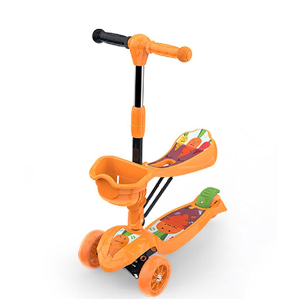注目のブランド スクーター折りたたみ子供の漫画多機能スライド自動車幼児モバイルハンドプッシュフラッシュPU車は3-10歳に座ることができます B07FS3F1P2 Orange B07FS3F1P2 Orange, カー用品と雑貨のゼンポー:5e055587 --- a0267596.xsph.ru
