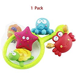 5 Sets of Pool Swimming Baby Toy Turtle Crab Small Starfish Octopus Clownfish Bath Buddies Water Toy ,Puzzle Boxed Duck Toddler Fishing Toys
