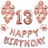 Yoart 13th Birthday Decorations Rose Gold for Girl Birthday Party Supplies 39 Piece with Happy Birthday Banner Confetti Latex Balloons Star Foil Balloons