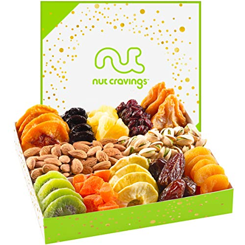 Nut and Dried Fruit Gift Basket, Healthy Gourmet Snack Box, Fresh Food Present - Birthday, Sympathy, Family Parties & Movie Night, Corporate Tray, Mothers & Fathers Day - Prime Delivery Tomorrow