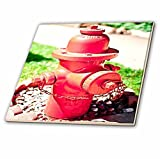 3dRose ct_52000_4 A Vibrant Red Fire Hydrant on Some Rocks in Front of a Green, Lush Lawn in Southern Utah Ceramic Tile, 12-Inch