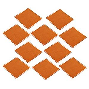Dolity 10Pieces Solid Color Floor Mat Foam Interlocking Flooring Tiles with Borders – for Home Office Playroom Basement - Orange