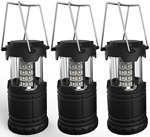 Portable LED Camping Lantern, Lemontec water resistant Ultra Bright 30 LED Lantern for Hiking, Emergencies, Hurricanes, Outages, Storms, Camping (3 AA Batteries), 3 Pack