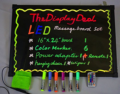 """LED Illuminated Writing Erasable Message Board with Scratch Proof Panel and Accessories (Small 16""""x24"""")"""