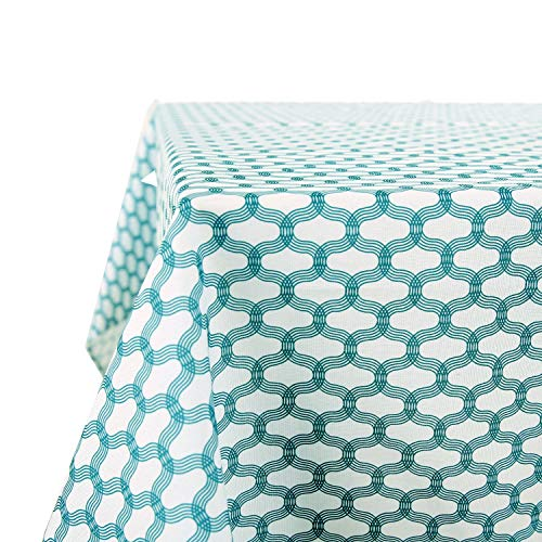 Deconovo Oxford Print Tablecolth Spill Proof Kitchen Tablecloth Square Tablecolths for Dining Room 54x54 inch Teal