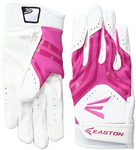 Easton HF3 Fastpitch Gloves, White/Pink, Large