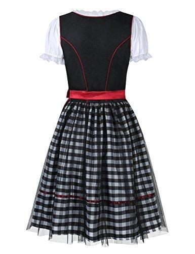 GloryStar Women's German Dirndl Dress 3 Pieces Oktoberfest Costumes (L, Mesh-Red-Two) by GloryStar (Image #5)