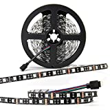 SUPERNIGHT - Black PCB 5050 RGB LED Strip -,16.4ft 60Leds/M, 300 Leds Color Changing LED Lights, Non-waterproof Flexible Rope Lighting Decoration (No power adapter)