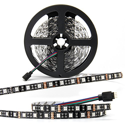 SUPERNIGHT - Black PCB 5050 RGB LED Strip - ,16.4ft 60Leds/M, 300 Leds Color Changing LED Lights, Non-waterproof Flexible Rope Lighting Decoration (No power adapter ) (Border Sign Roll)