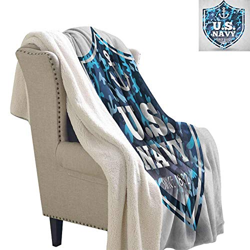 Willsd Anchor Wool Blanket Military Camouflage with US Navy Since 1882 Uniform Army Force Ship Upgraded Thick Lazy Blanket Blue White Navy Blue W59 x L47