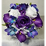 Purple-White-Rose-Calla-Lily-Orchid-Cascading-Bridal-Wedding-Bouquet-Boutonniere