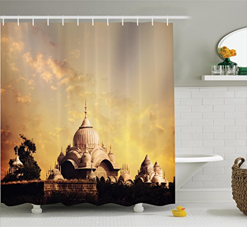 Ambesonne Home Decor Collection, Indian Antique Monumental Temple with Asian Landscape Empire Palace Picture Home Design Art, Polyester Fabric Bathroom Shower Curtain, 84 Inches Extra Long, Multi Empire Art Collection
