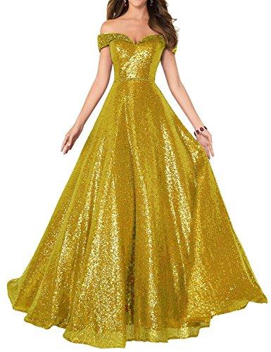 Changuan Off Robe De Bal De L'épaule Pour Les Femmes Une Longue Ligne De Perles Pailletées Robes De Soirée Formelle D'or Avec Des Perles