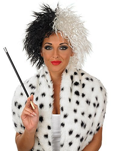 Mega Fancy Dress Women's Mega Fancy Evil Cruella Wig And Cigarette Holder Fancy Costume Accessory One Size Black