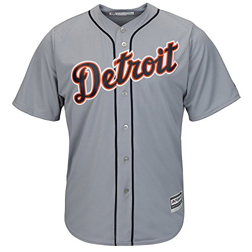 (Mens MLB Detroit Tigers Cool Base Jersey, Road Gray)