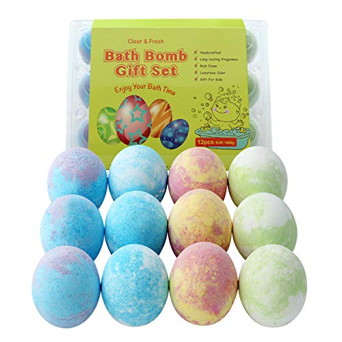 Organic Bath Bombs Gift Set with 12 Packs Natural Bath Bombs, Funny Egg Shape Bath Bombs for Kids with Rich Foam, Handmade Bath Bombs Gift Set for Birthday , Mother's Day and for Kids