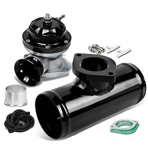 30 PSI Adjustable Turbo Blow Off Valve + Type Rs 2.5 inches Flange Pipe Adaptor Black