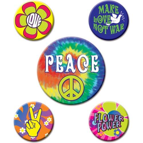 60's Party Buttons (asstd designs)    - Items 70s