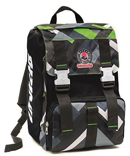 fe9bdf4269 Zaino scuola sdoppiabile Big - INVICTA MIX - estensibile 28 LT - Nero Verde  - elementari