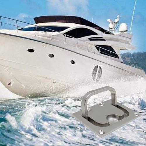 Einlassgriff Edelstahl Bodenheber Lukenheber Flush Hatch Locker Boot Bodenheber Griff Lukengriff Cabinet Pull Lift Hatch 76 x 57mm mit 5 Schrauben f/ür Boot Marine Yacht