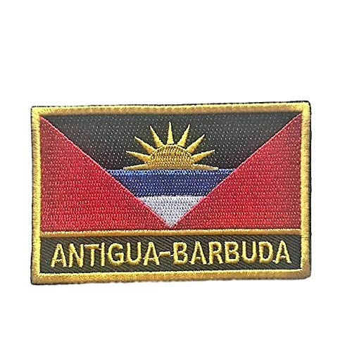 (Antigua & Barbuda Flag Patch/International Embroidered Travel Patch Collection (Antigua w/Words, 2
