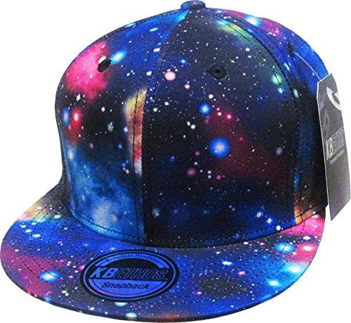 KBETHOS KNW-1469ALL-GX Blk Galaxy Print Brim Snapback Hat Cap