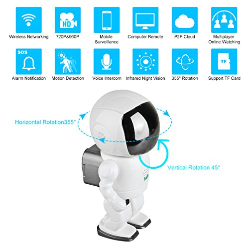 FAITH 960P HD Wireless WiFi IP Robot Camera,1.3MP CMOS Baby Monitor Pan Tilt Remote Home Security P2P IR Night Vision for Mobile Android/IOS and Laptop