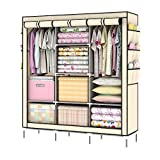 OUMYJIA 69'' Portable Clothes Closet Wardrobe Non-woven Fabric Storage Organizer, Side Pockets, Beige, 51'' L x 17.5'' W x 69'' H inches