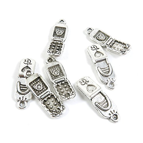 1100 Pieces Antique Silver Tone Jewelry Making Charms Findings Fashion Wholesale Supplies Pendant Lots Bulk Supply SC3112 Cellphone (Phone Cell 1100)
