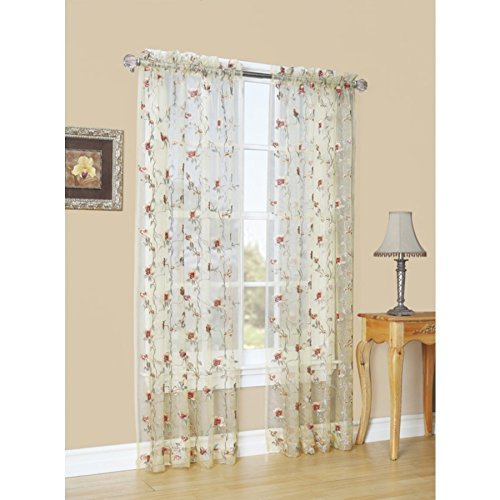Style Selections Arcadia 84-in Antique Polyester Rod Pocket Sheer Single Curtain Panel (Style Selections Rod)