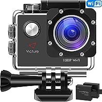 """Victure WiFi Action Cam Full HD 1080P Videocamera Sportiva Impermeabile Fotocamera 2"""" LCD 170 ° Gradi con 2 Batteria 20+ Kit Accessori"""