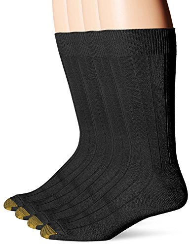 Gold Toe Men's Hampton, Black, 10-13/Shoe Size 6-12 (Pack of 4) by Gold Toe
