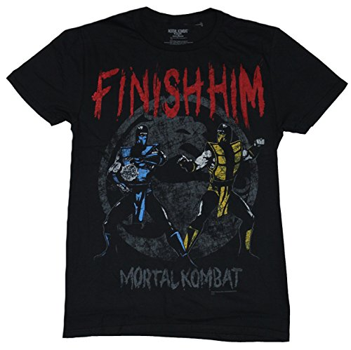 Mortal Kombat Mens T-Shirt - Finish Him Old School Sub Zero Vs Scorpion Image (Medium) Black (Women Of Mortal Kombat)